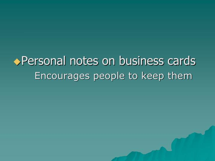 Personal notes on business cards