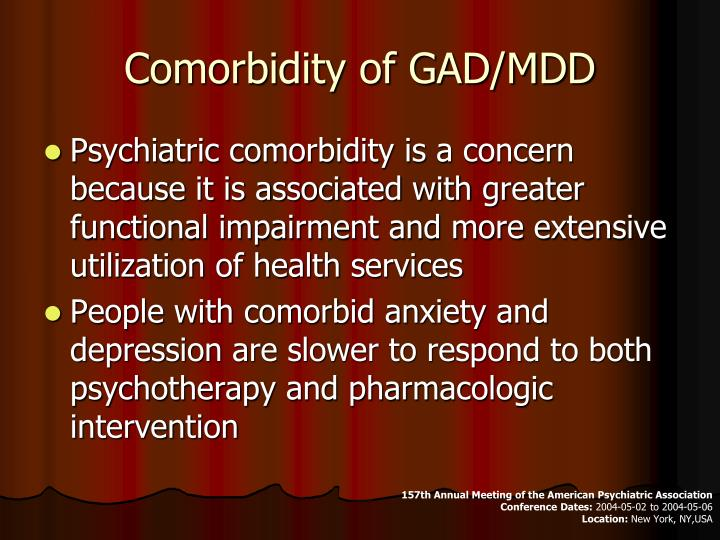 Comorbidity of GAD/MDD