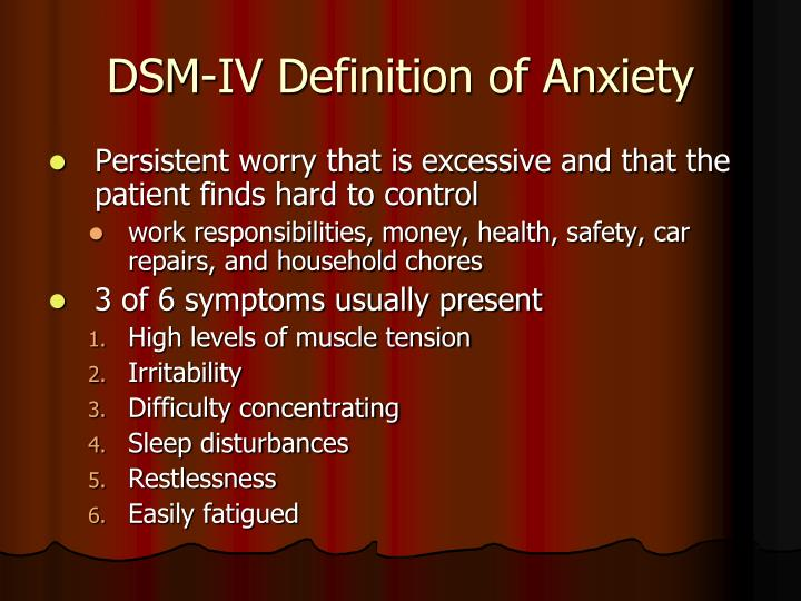DSM-IV Definition of Anxiety