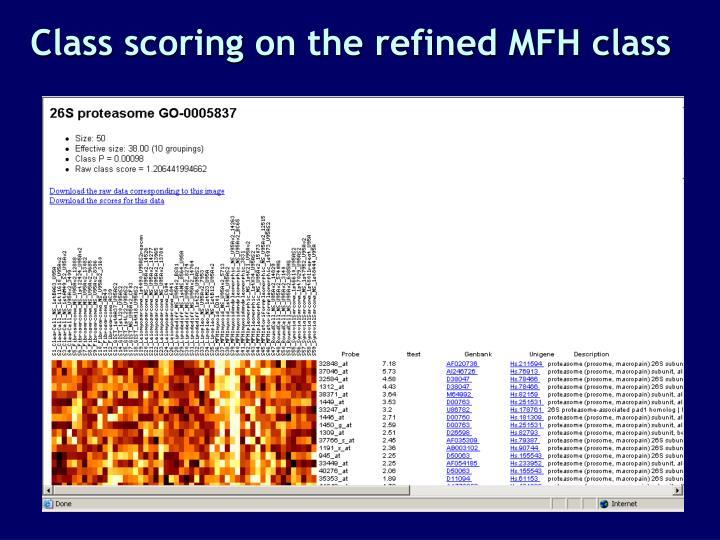 Class scoring on the refined MFH class