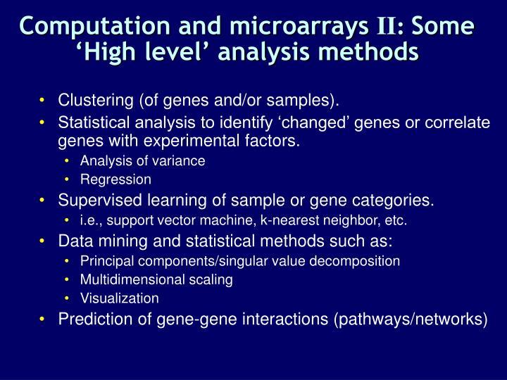 Computation and microarrays