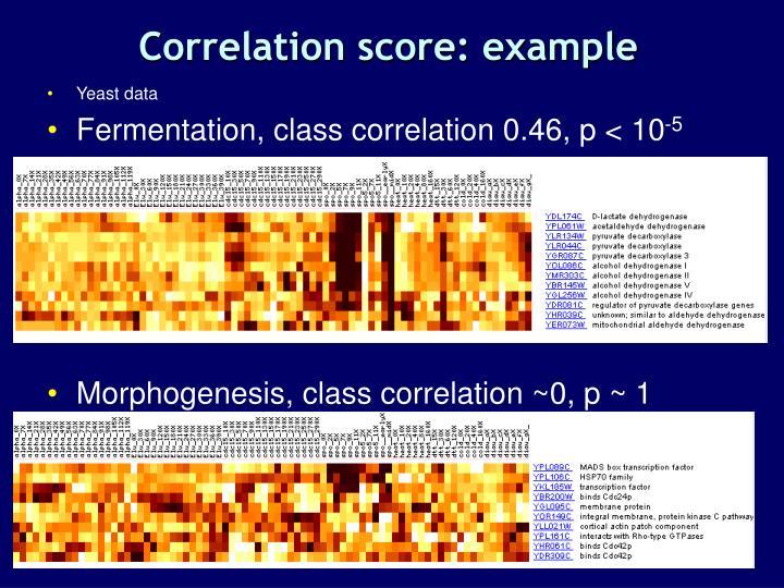 Correlation score: example