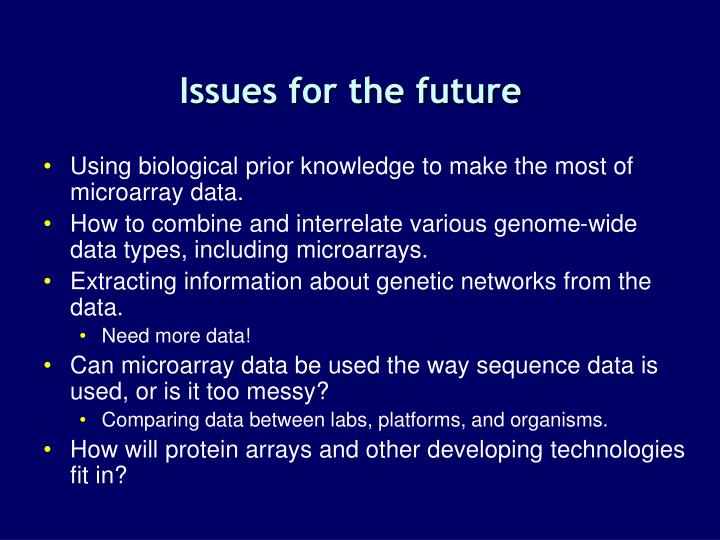 Issues for the future