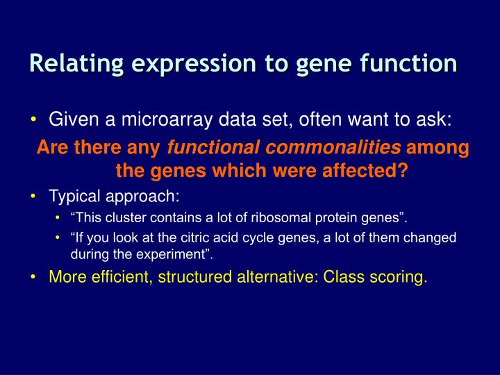 Relating expression to gene function