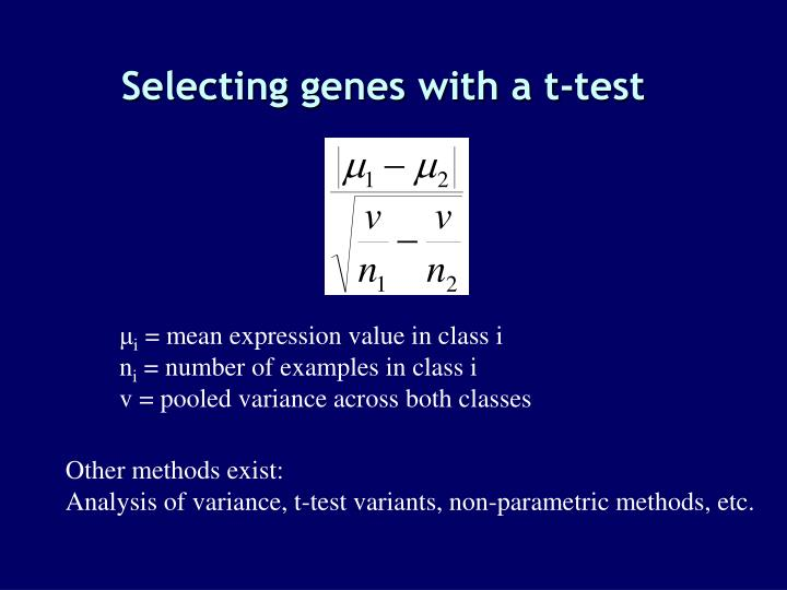 Selecting genes with a t-test