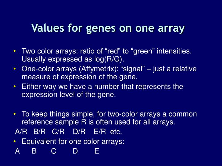 Values for genes on one array