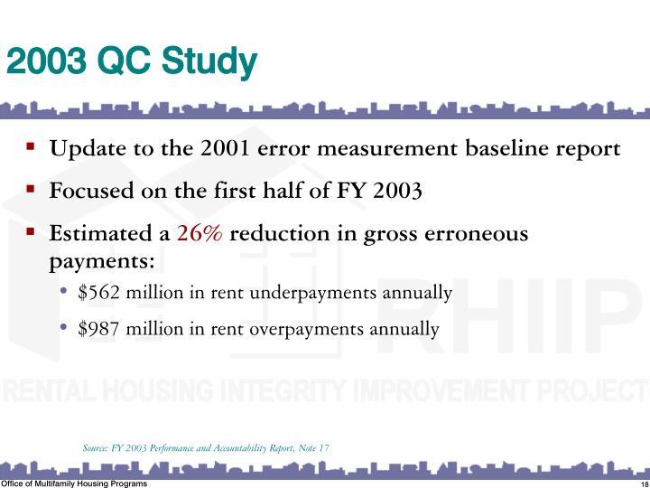2003 QC Study
