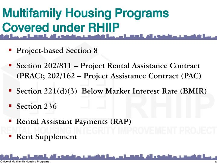Multifamily Housing Programs Covered under RHIIP