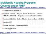 multifamily housing programs covered under rhiip