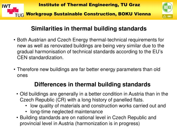 Similarities in thermal building standards