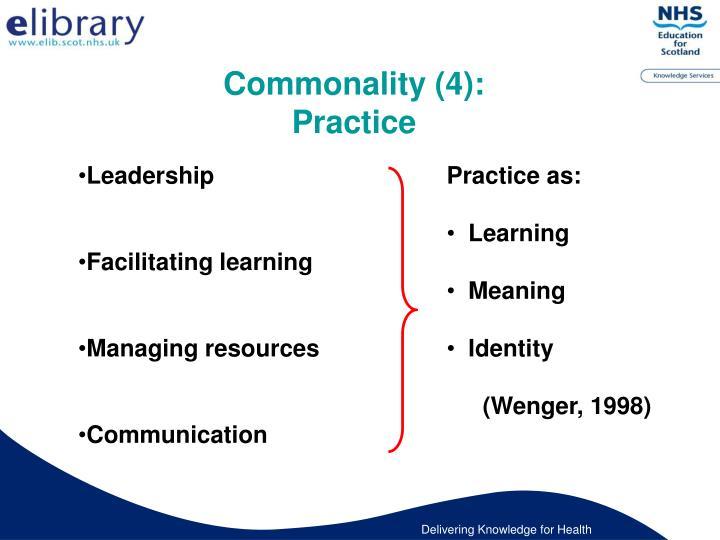 Commonality (4):