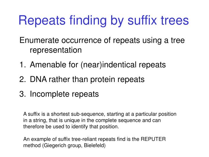 Repeats finding by suffix trees