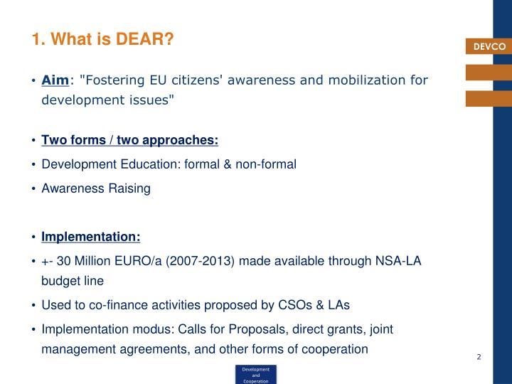1. What is DEAR?