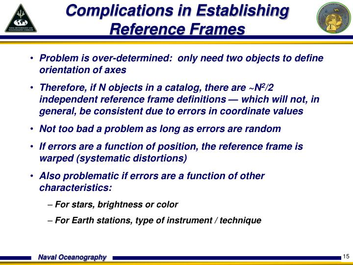 Complications in Establishing Reference Frames