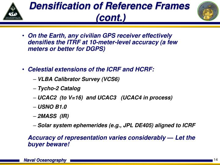 Densification of Reference Frames