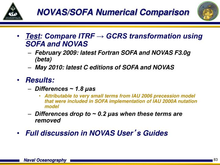 NOVAS/SOFA Numerical Comparison