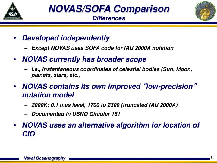 NOVAS/SOFA Comparison