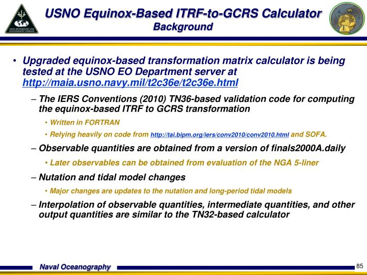 USNO Equinox-Based ITRF-to-GCRS Calculator