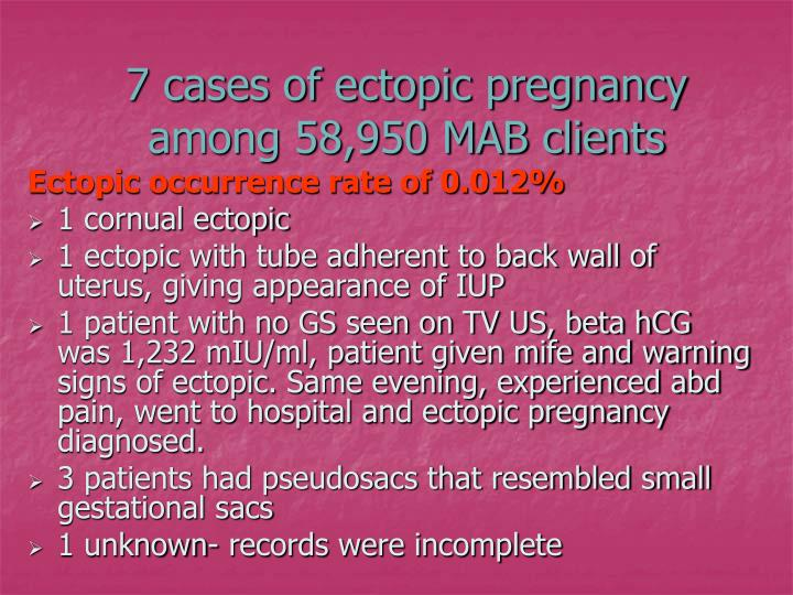 7 cases of ectopic pregnancy among 58,950 MAB clients