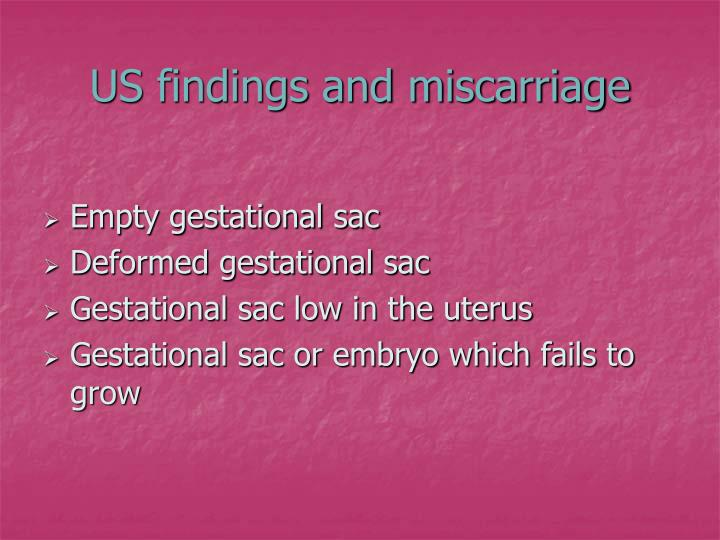 US findings and miscarriage