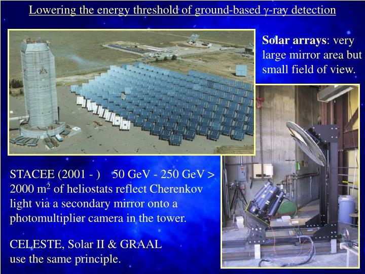 Lowering the energy threshold of ground-based