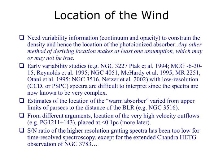 Location of the Wind