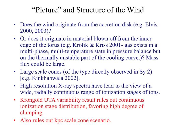 """""""Picture"""" and Structure of the Wind"""