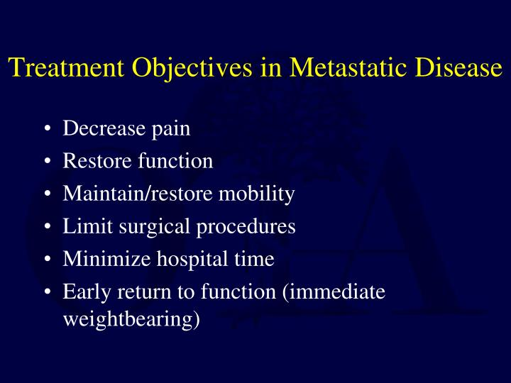 Treatment Objectives in Metastatic Disease