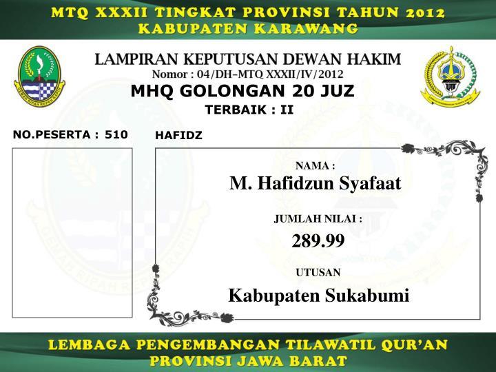 MHQ GOLONGAN 20 JUZ