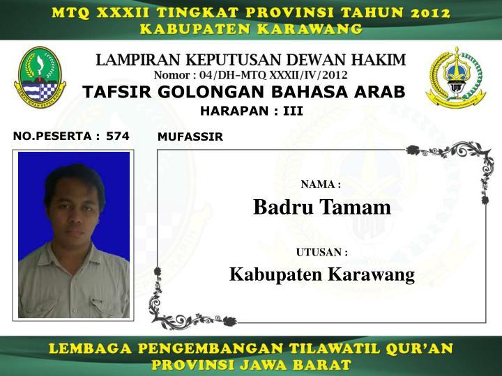 TAFSIR GOLONGAN BAHASA ARAB