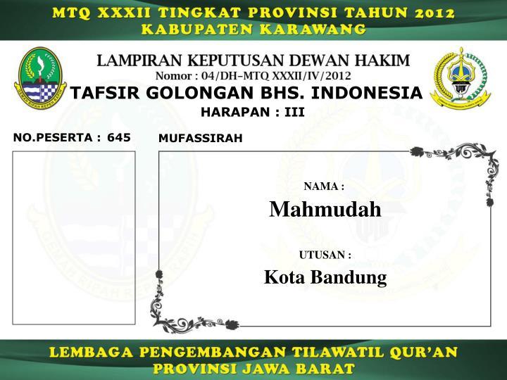 TAFSIR GOLONGAN BHS. INDONESIA