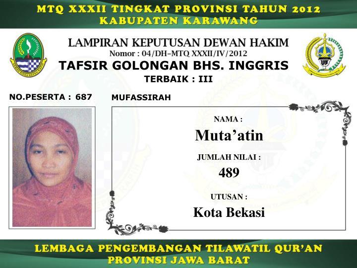 TAFSIR GOLONGAN BHS. INGGRIS