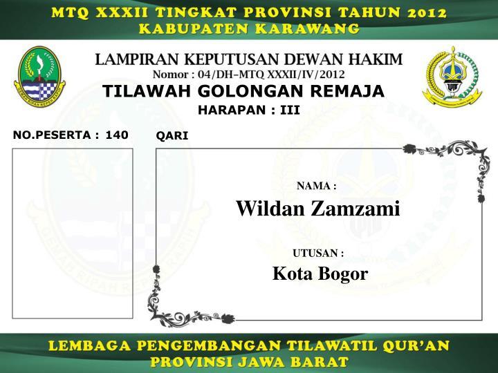 TILAWAH GOLONGAN REMAJA