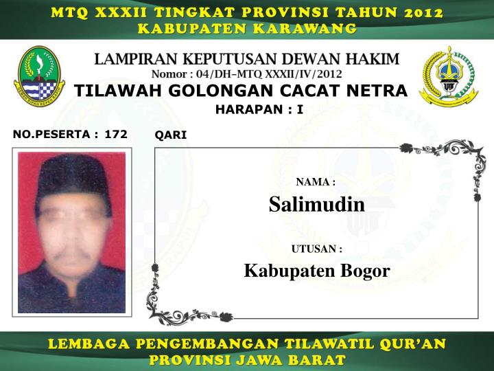 TILAWAH GOLONGAN CACAT NETRA