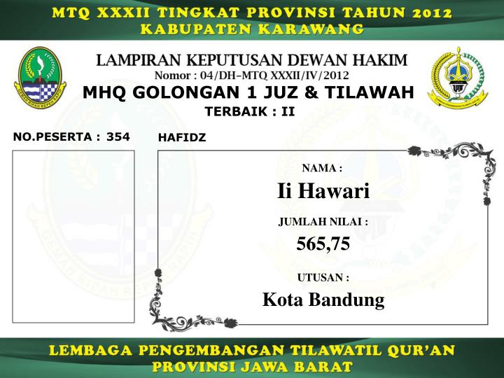 MHQ GOLONGAN 1 JUZ & TILAWAH