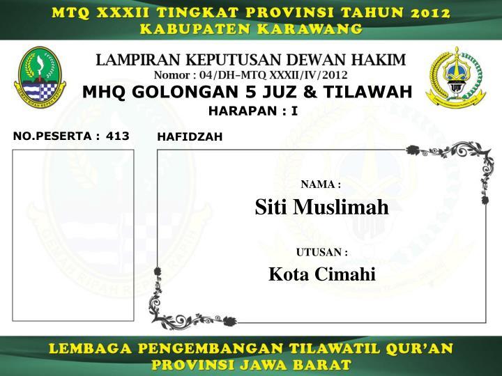 MHQ GOLONGAN 5 JUZ & TILAWAH