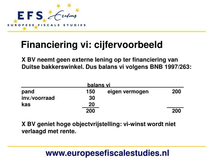 Financiering vi: cijfervoorbeeld