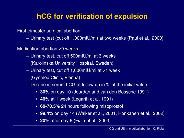 hCG for verification of expulsion