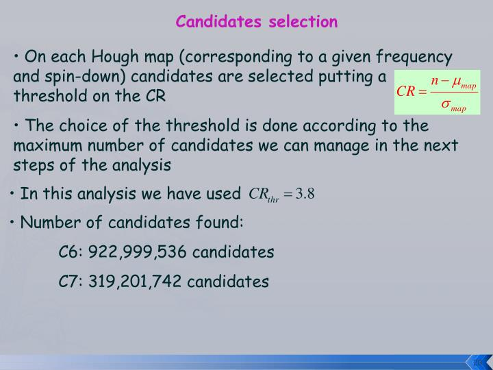 Candidates selection
