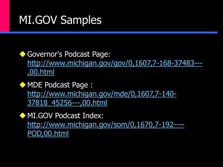MI.GOV Samples