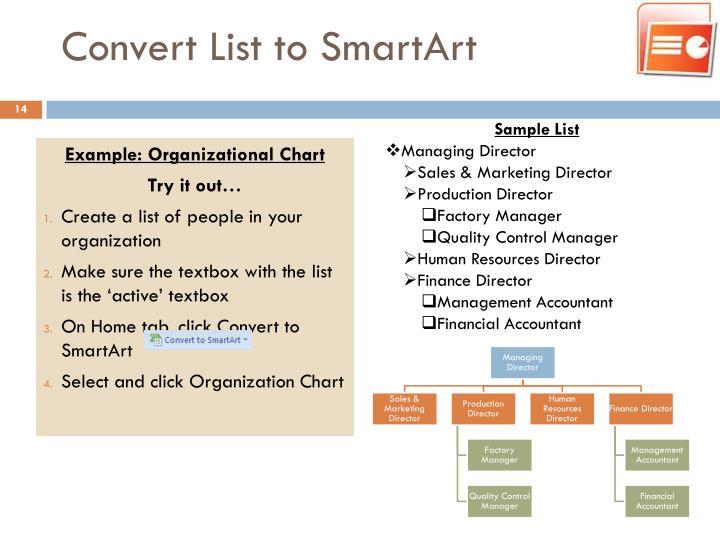Convert List to SmartArt