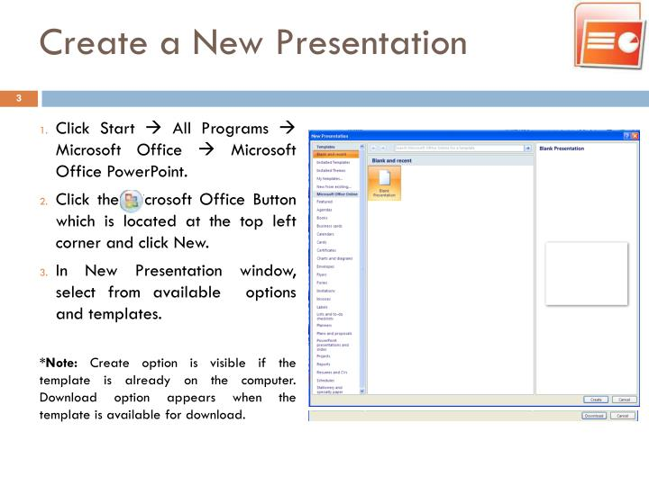 Create a new presentation