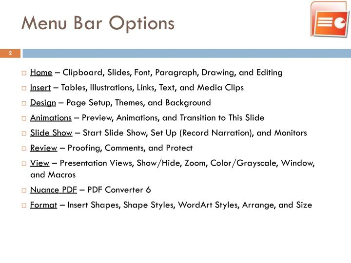 Menu Bar Options