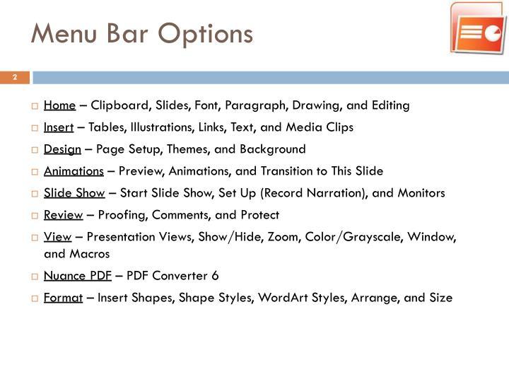 Menu Bar Options