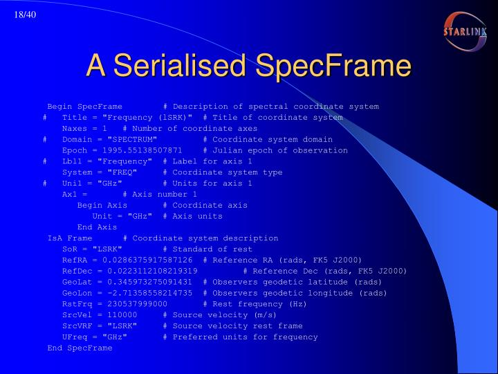 A Serialised SpecFrame