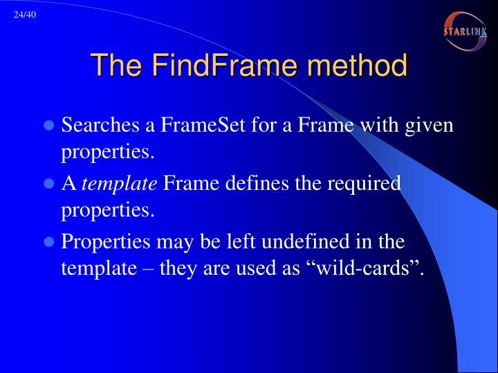 The FindFrame method