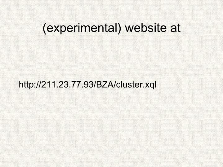 (experimental) website at
