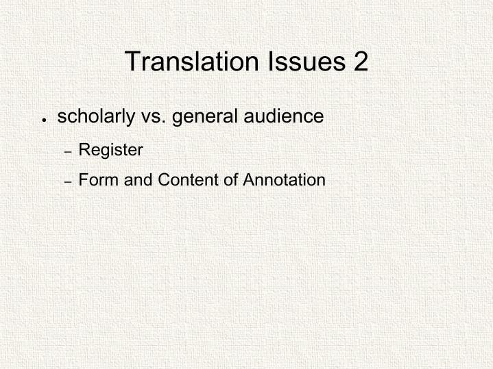 Translation Issues 2