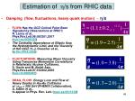 estimation of h s from rhic data