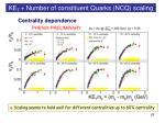 ke t number of constituent quarks ncq scaling